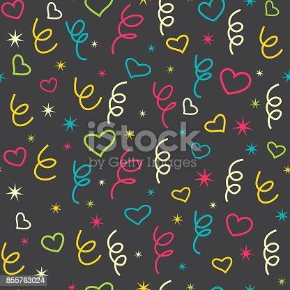 istock Party background with confetti, hearts, stars and streamer. Colorful elements on black background. 855763024