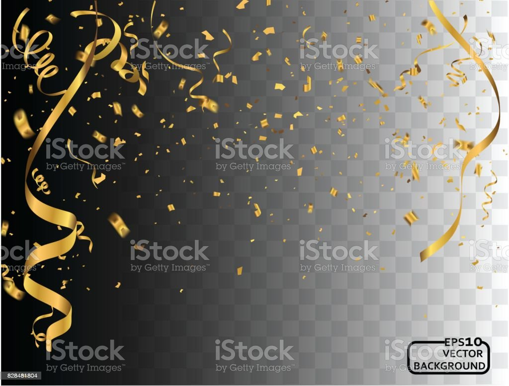 Party background with golden confetti and streamers vector art illustration