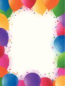 Party background border with balloons, confetti and copy space.
