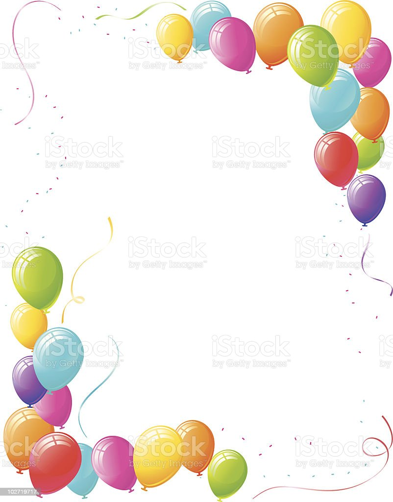 Party Balloon Border Design vector art illustration