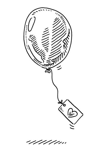Party Balloon Love Greeting Card Drawing Hand-drawn vector drawing of a Party Balloon with an attached Greeting Card with a Love heart on it. Black-and-White sketch on a transparent background (.eps-file). Included files are EPS (v10) and Hi-Res JPG. celebration stock illustrations