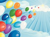 A concept illustration of a multi-colored helium balloons floating in the sky towards the sun. Suggesting freedom, escape or hope. Balloons, clouds and background are on separate layers. Blends have been used. Pdf and jpg files are included.