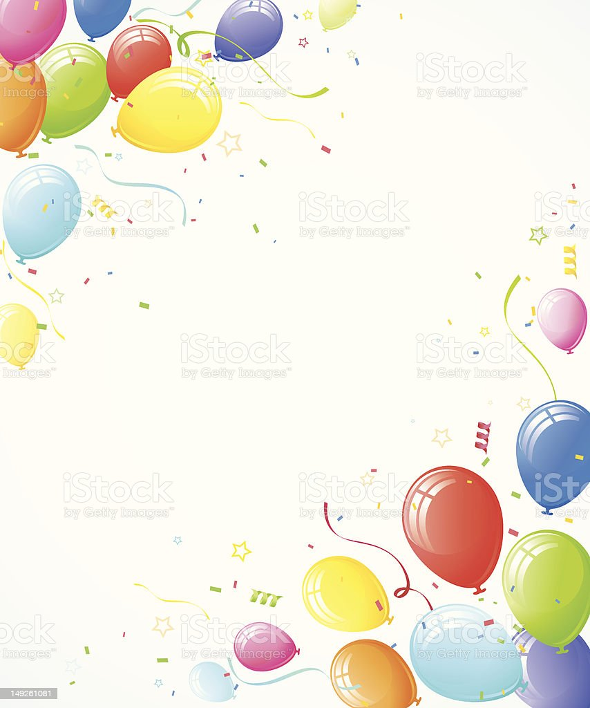Birthday Balloons Border Horizontal