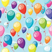 Colorful Party Balloons with sky background.