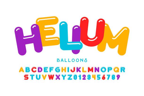 ilustraciones, imágenes clip art, dibujos animados e iconos de stock de fuente de estilo fiesta globos - niñez