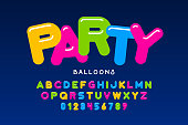 Party balloons style font design, helium balloons alphabet letters and numbers vector illustration