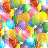Vector illustration of a huge bunch of colorful party balloons.
