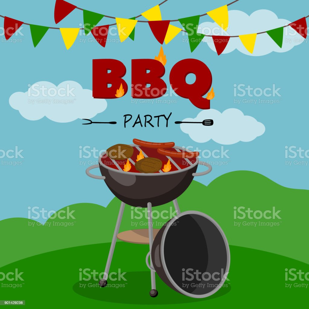 Bbq party banner cartoon style poster welcome invitation to barbecue bbq party banner cartoon style poster welcome invitation to barbecue picnic vector illustration bbq stopboris Images
