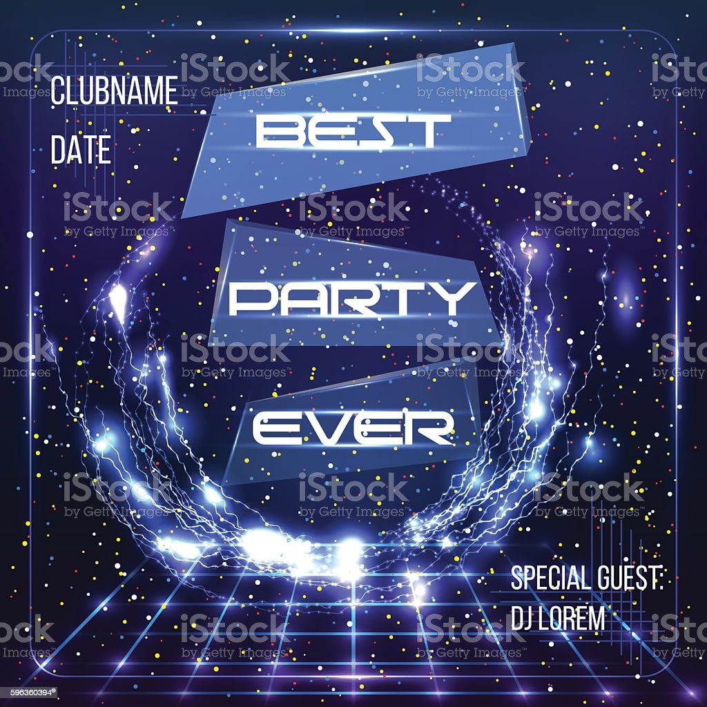 Party banner, DJ poster with retro disco stage and lightnings. royalty-free party banner dj poster with retro disco stage and lightnings stock vector art & more images of arts culture and entertainment