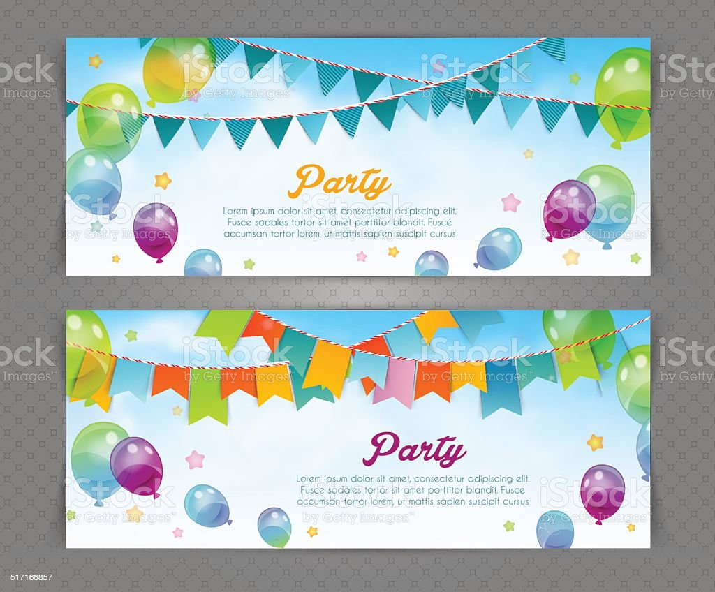 Party banner with flags and ballons vector art illustration