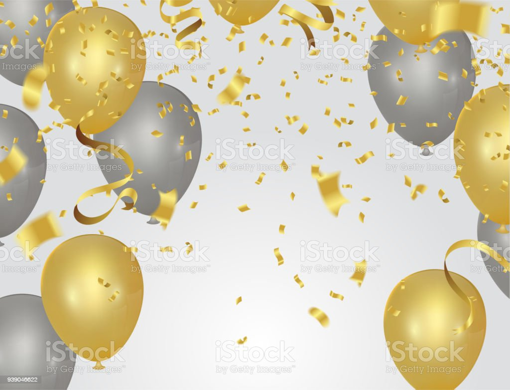 party banner with golden balloons and serpentine gold confetti isolated on a transparent background. EPS 10