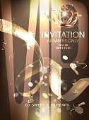 VIP Party banner with serpentine, crown and golden design elements. Vector illustration