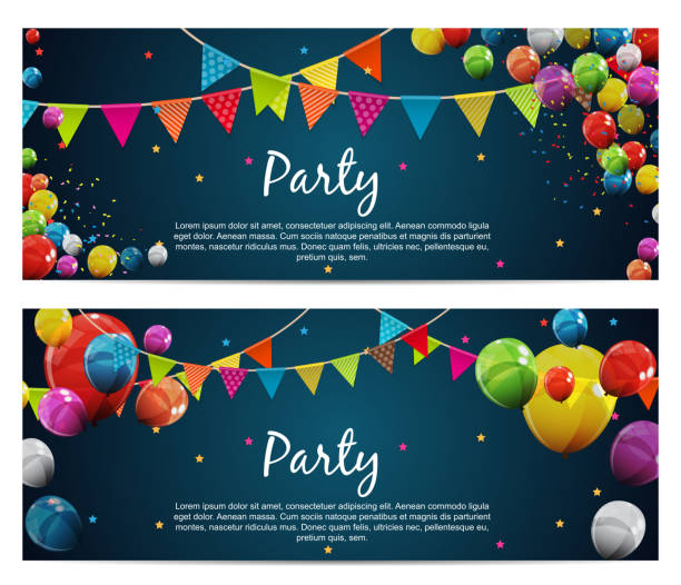 Party Birthday Background Baner with Flags and Balloons Vector Illustration Party Birthday Background Baner with Flags and Balloons Vector Illustration. EPS10 birthday background stock illustrations