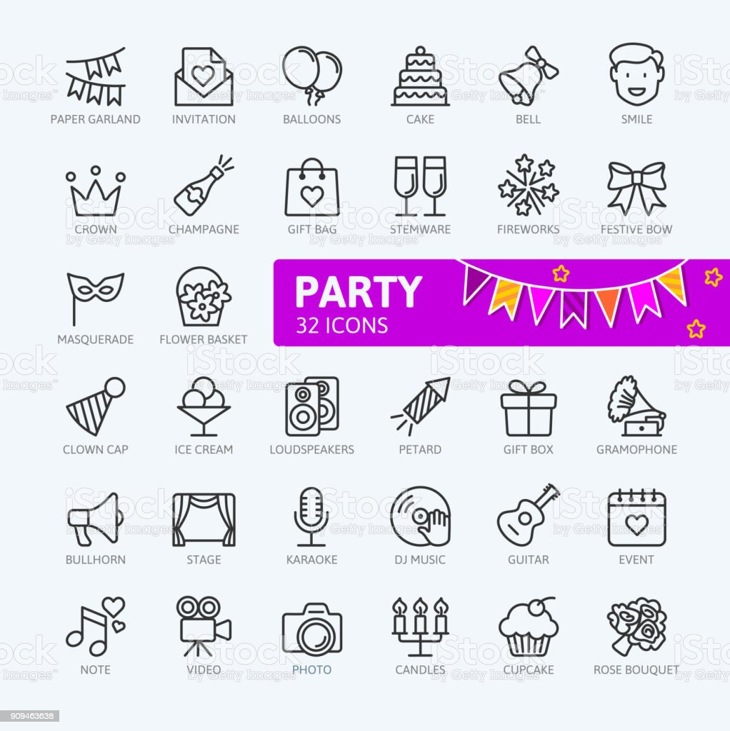 Party, Birthday, celebration - outline icons collection vector art illustration