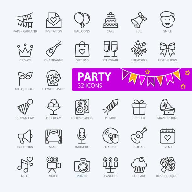 ilustraciones, imágenes clip art, dibujos animados e iconos de stock de celebración de la fiesta, cumpleaños, - colección de iconos de contorno - calendario de flores