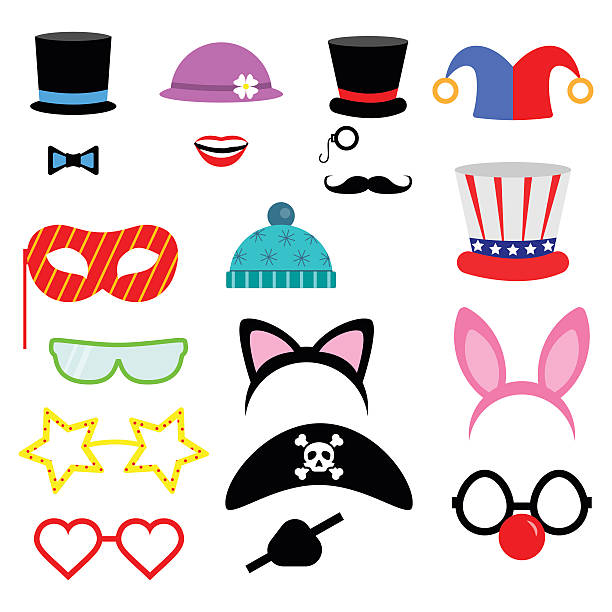 party birthday photo booth props. . vector illustration.flat collection - photo booth stock illustrations, clip art, cartoons, & icons