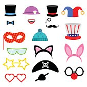 Party Birthday photo booth props. . Vector illustration.Flat collection