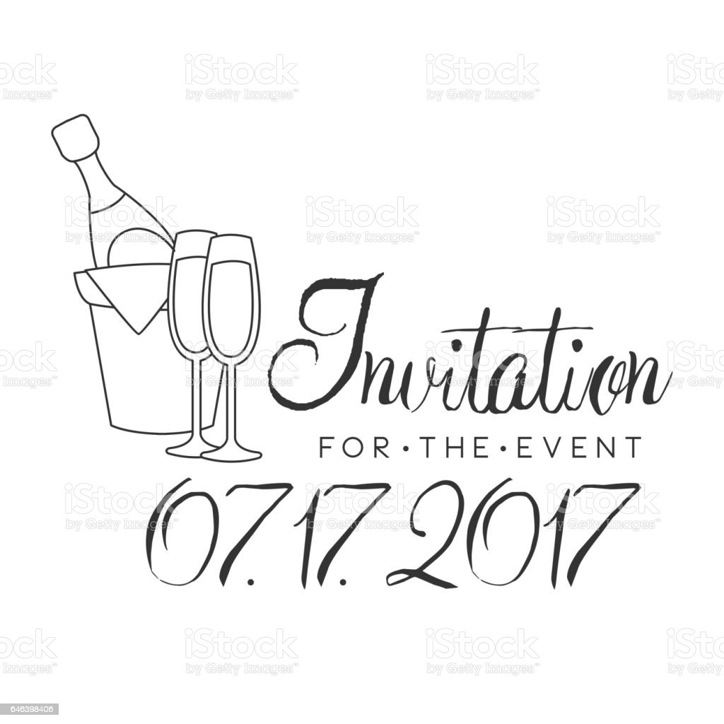 Party Black And White Invitation Card Design Template With