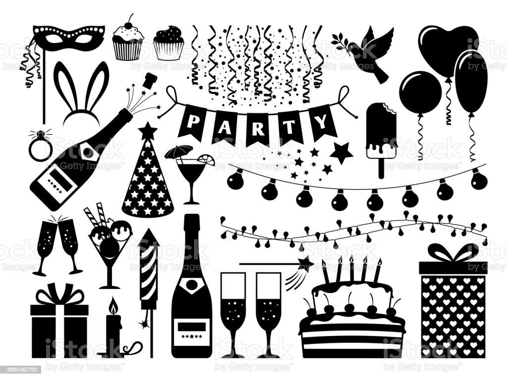 Schwarze Party Icons Set Stock Vektor Art und mehr Bilder