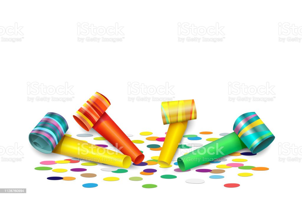 Party blank card with colorful paper party blower, horn or noisemaker...