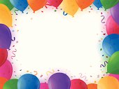 Horizontal party border with balloons, confetti and copy space.