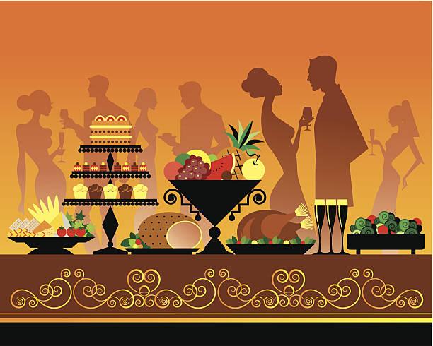 ilustrações de stock, clip art, desenhos animados e ícones de festa buffet c - sideboard