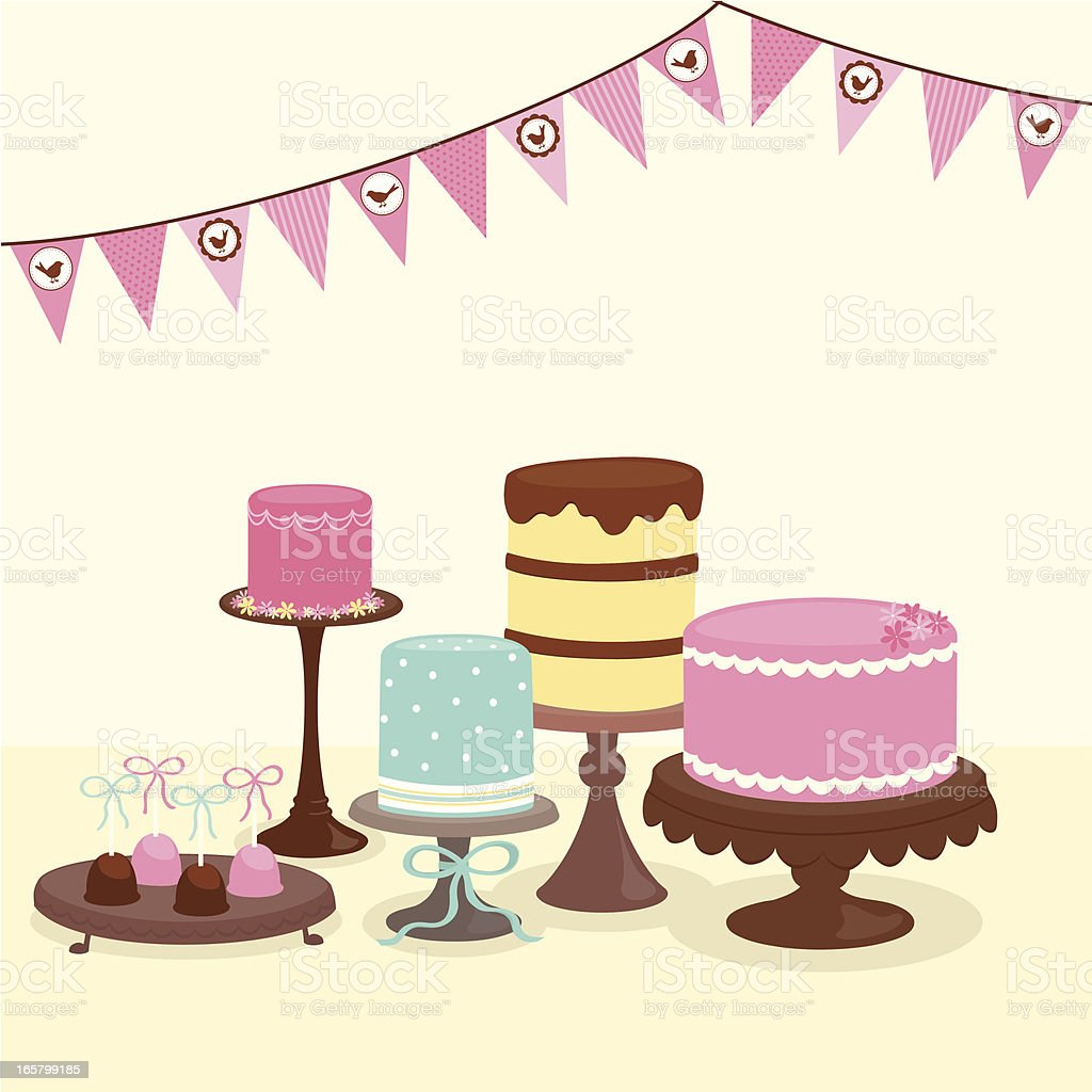 Party cakes with bunting vector art illustration