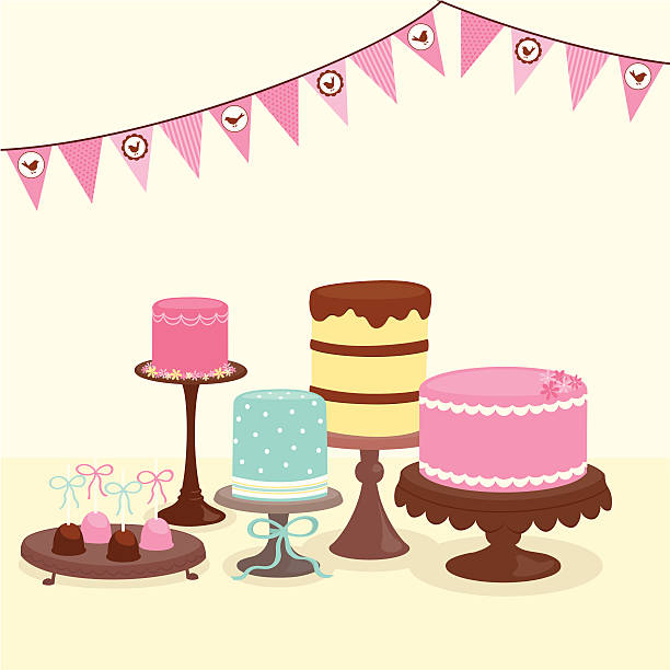 Party cakes with bunting A group of delicious cakes on pedestals and cake pops on a cake plate. Bunting with bird shapes hangs overhead.   AI CS4 file and large jpg included. All elements labeled and organized on separate layers for easy color changes.  pastry dough stock illustrations
