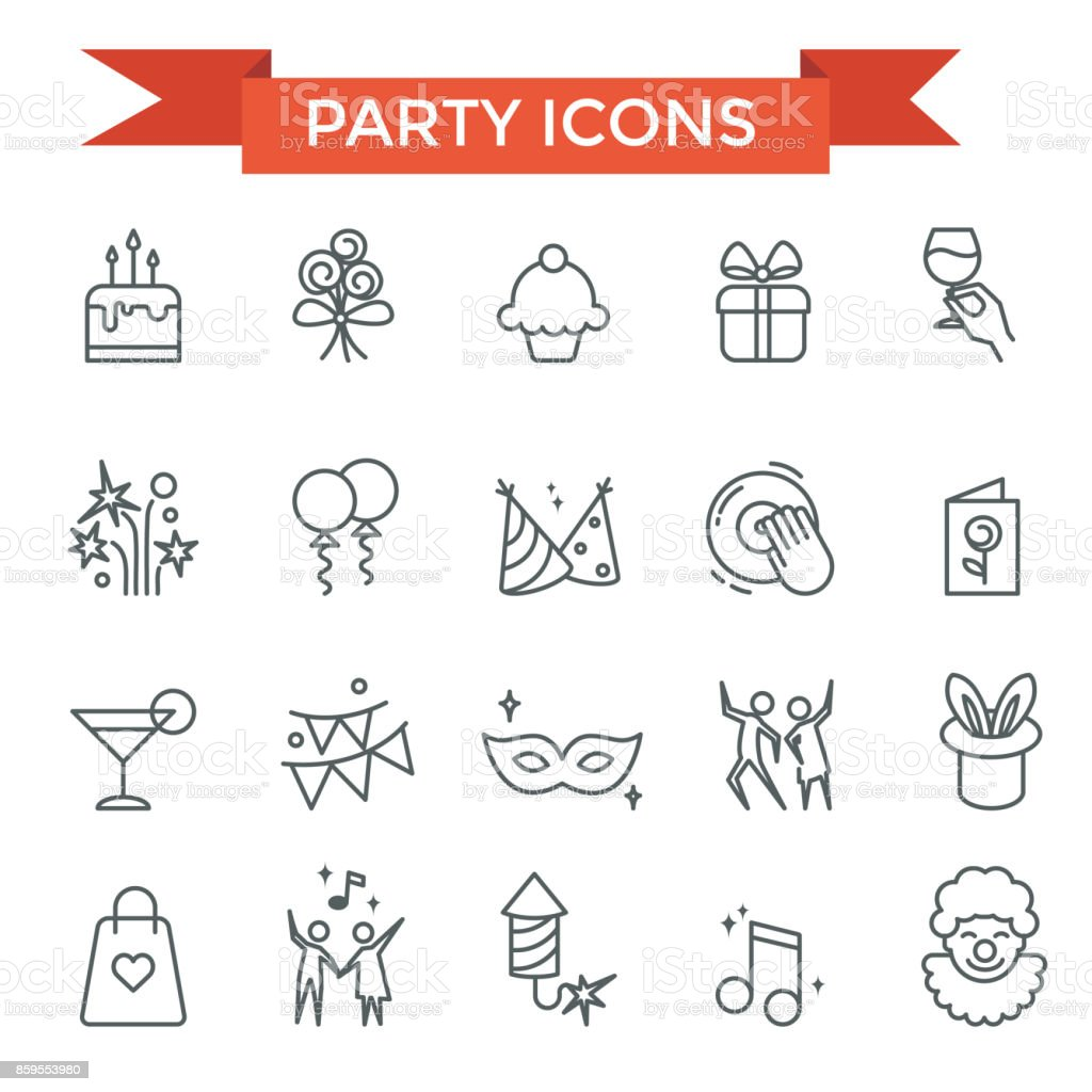 Party celebrate icons vector art illustration