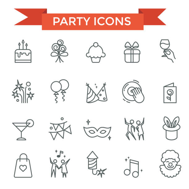 Party celebrate icons Party celebrate, happy birthday icons, thin line design pyrotechnic effects stock illustrations