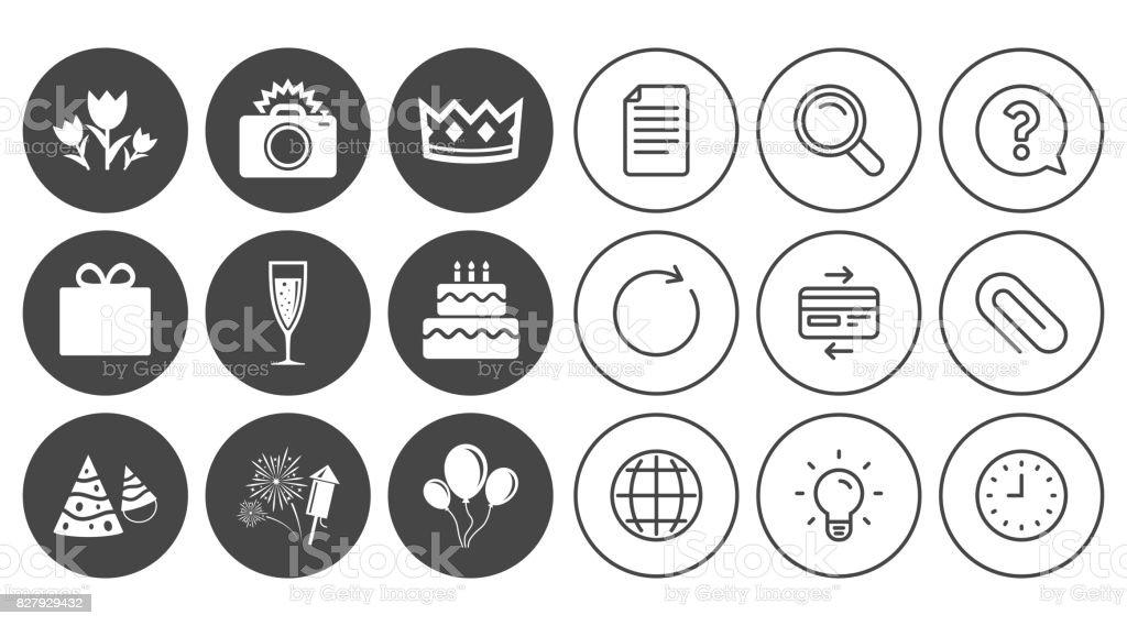 Party celebration, birthday icons. Fireworks. vector art illustration