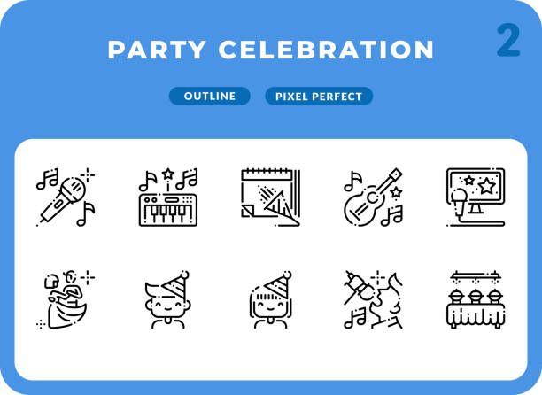 Party Celebration Dashed Outline Icons Pack for UI. Pixel perfect thin line vector icon set for web design and website application. vector art illustration