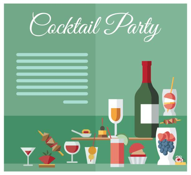 illustrazioni stock, clip art, cartoni animati e icone di tendenza di party celebration drinks and snacks menu layout - aperitivo