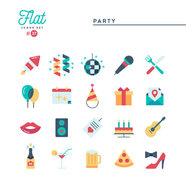 party, celebration, fireworks, confetti and more, flat icons set - wysokie obcasy stock illustrations