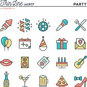 Party, celebration, fireworks, confetti and more, thin line color icons set, vector illustration