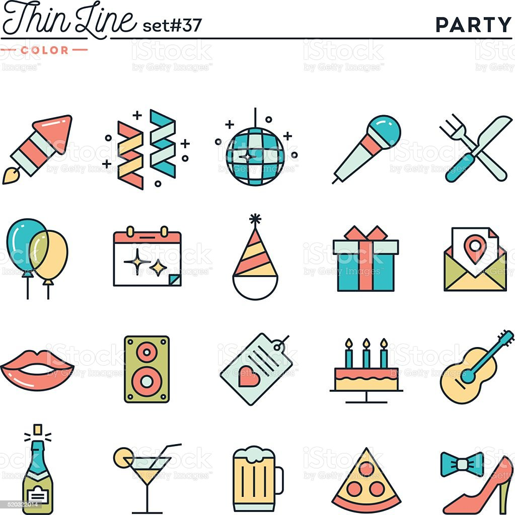 Party, celebration, fireworks, confetti and more, thin line color icons vector art illustration