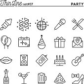 Party, celebration, fireworks, confetti and more, thin line icon