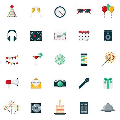 Party & Celebration Flat Design Icon Set