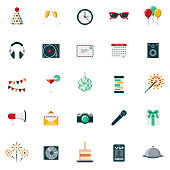 A set of 25 party and celebrations flat design icons on a transparent background. File is built in the CMYK color space for optimal printing. Color swatches are Global for quick and easy color changes.