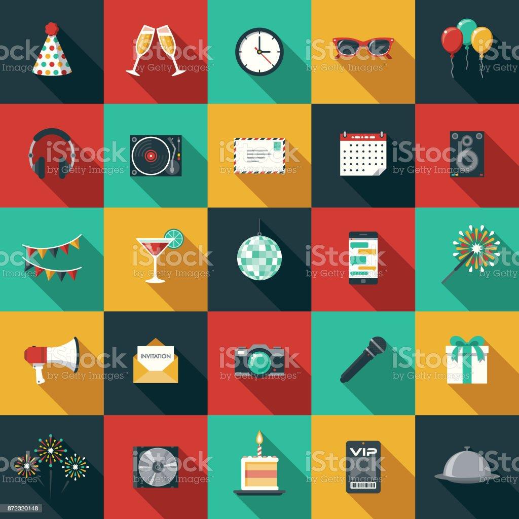 Partei & Feier flache Design-Ikone mit Seite Schatten gesetzt – Vektorgrafik