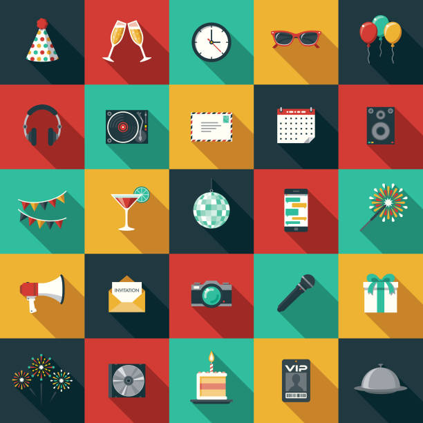 Party & Celebration Flat Design Icon Set with Side Shadow A set of flat design styled party/celebration icons with a long side shadow. Color swatches are global so it's easy to edit and change the colors. fireworks illustrations stock illustrations