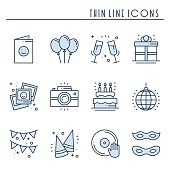 Party celebration thin line icons set. Birthday, holidays, event, carnival festive. Basic party elements icons collection. Vector simple linear design. Illustration. Symbols. Mask gifts cake cocktail