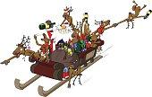 Party Christmas Cartoon, Sleigh Ride