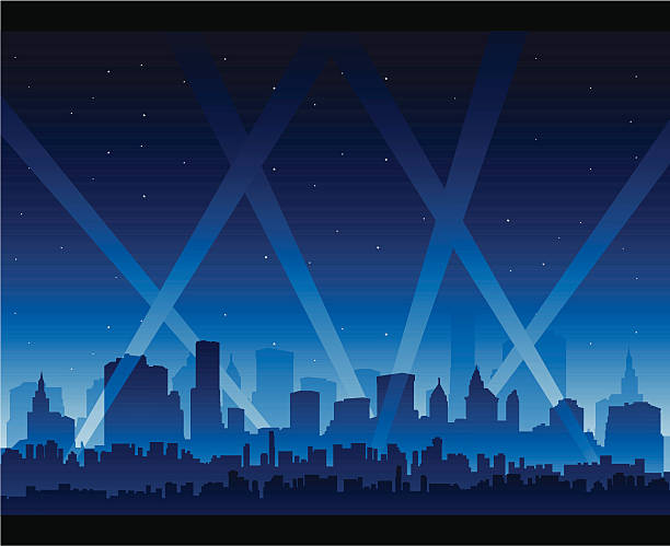 Party city Party city nightlife bright spot light in the sky premiere event stock illustrations
