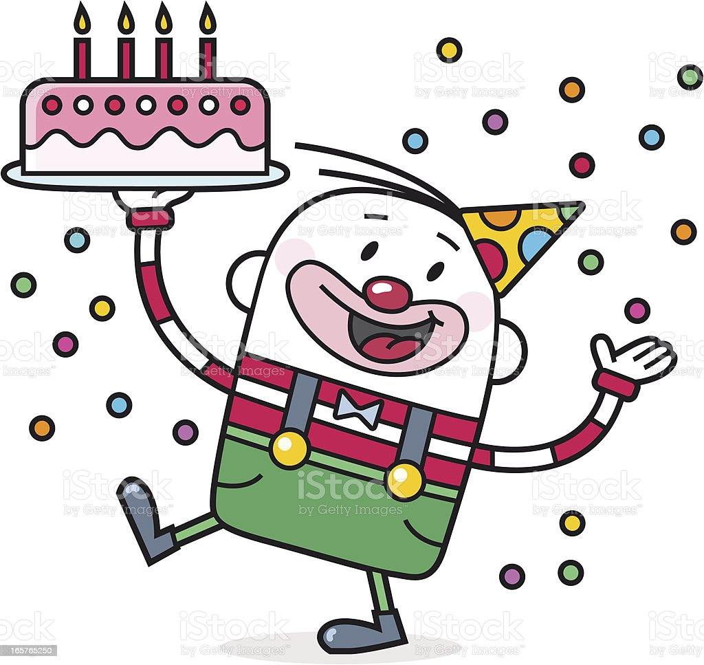 party clown with birthday cake and confetti royalty-free stock vector art