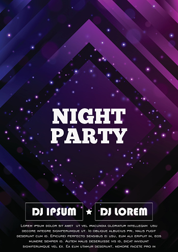 Party club flyer. Vector poster template