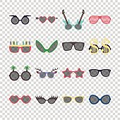 Party colorful sunglasses icon set in flat style isolated on transparent background. Design templates. EPS10 illustration.