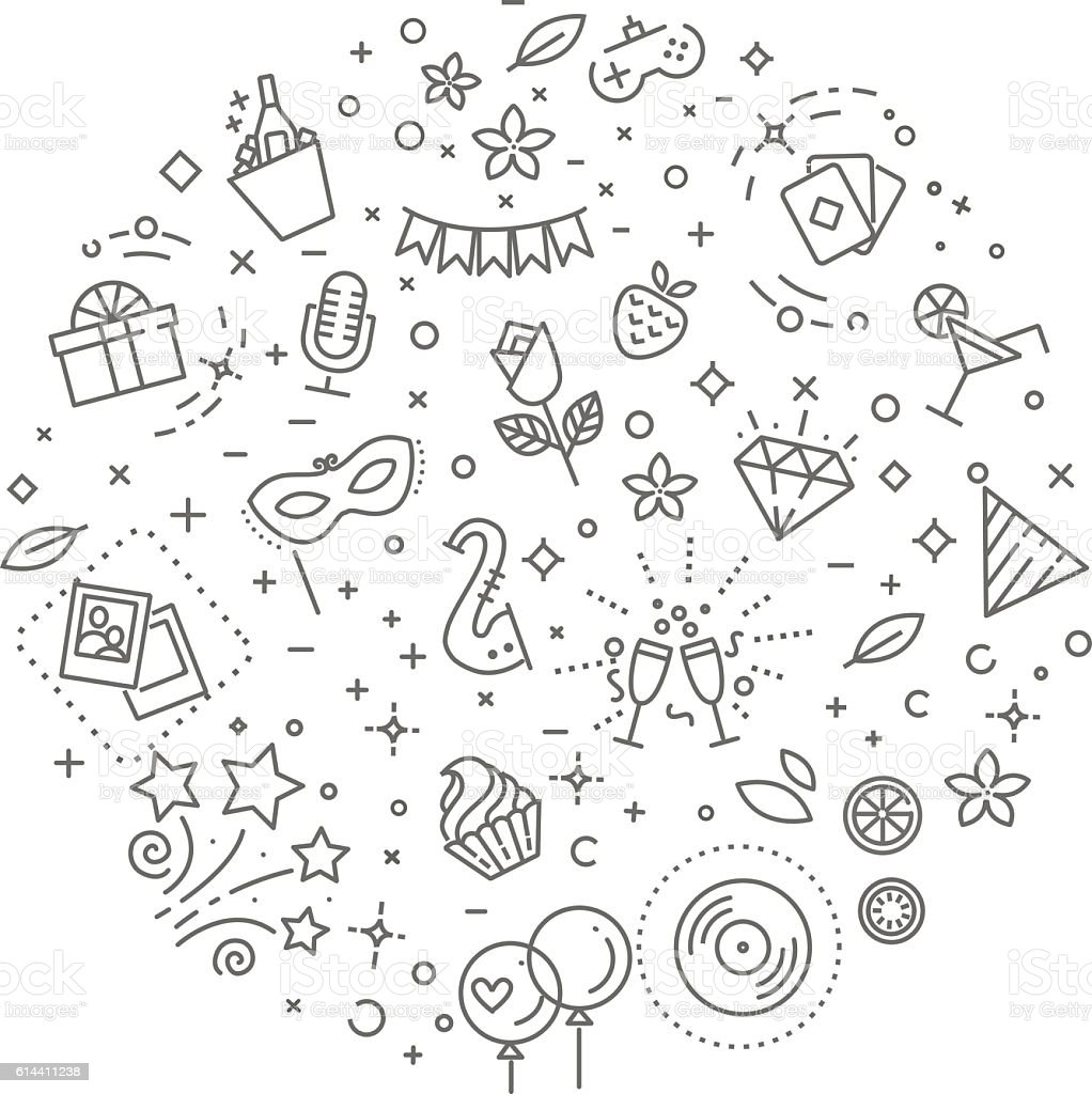 Party concept illustration,line design vector template