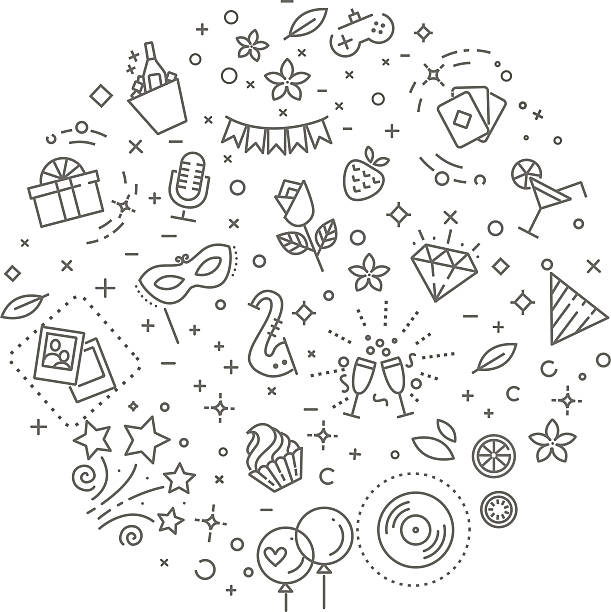 ilustraciones, imágenes clip art, dibujos animados e iconos de stock de party concept illustration,line design vector template - fiesta en la oficina