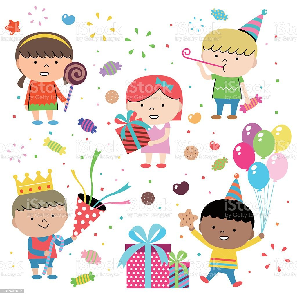 Party Concepts, Joyful Group Of Multi Ethnic Children Celebrating (birthday) vector art illustration